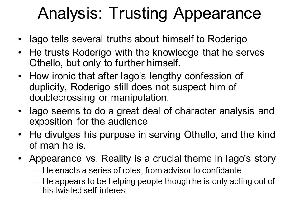 Analysis: Trusting Appearance