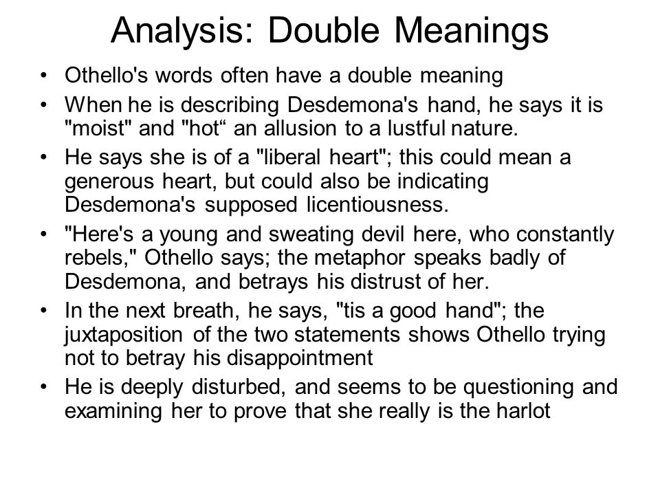 Analysis: Double Meanings