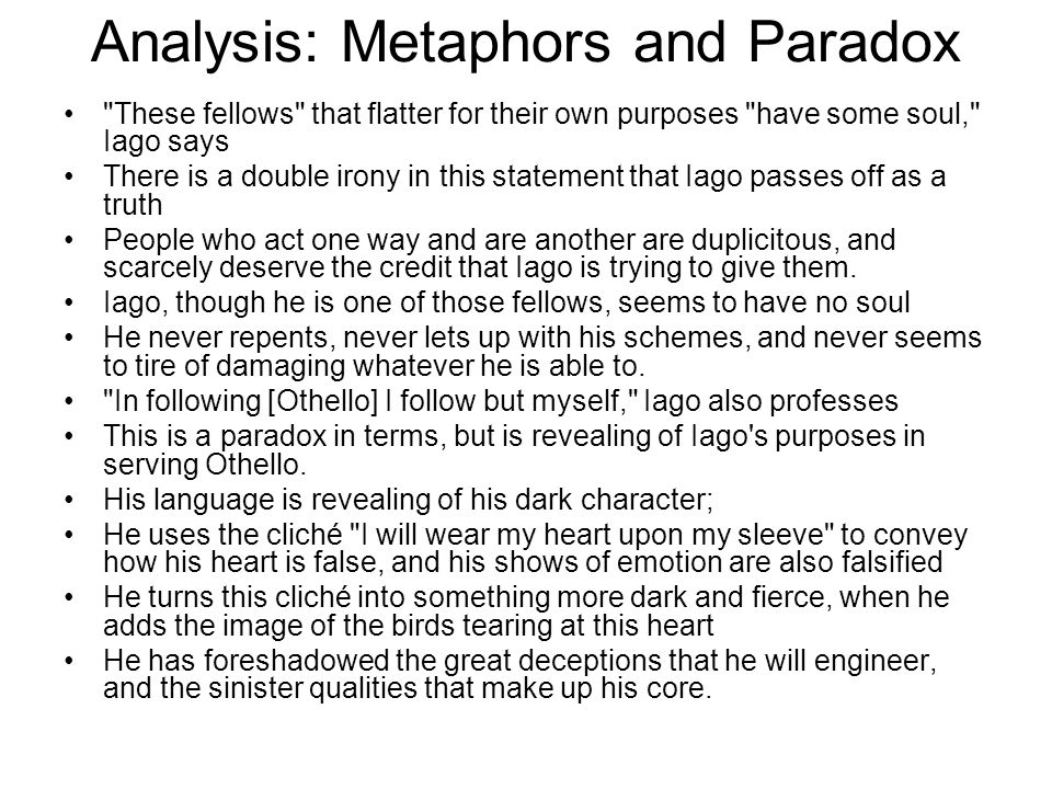 Analysis: Metaphors and Paradox