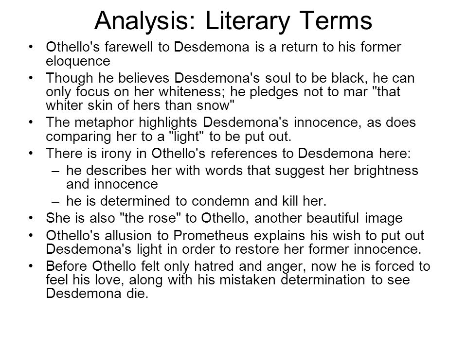 Analysis: Literary Terms