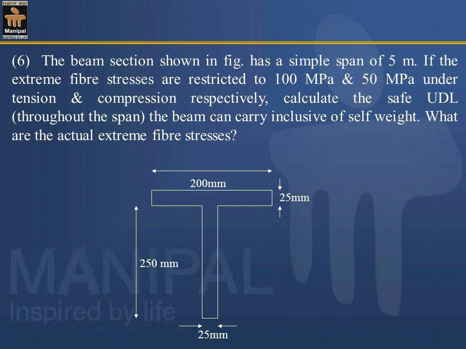 (6) The beam section shown in fig. has a simple span of 5 m