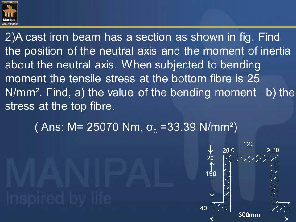 2)A cast iron beam has a section as shown in fig