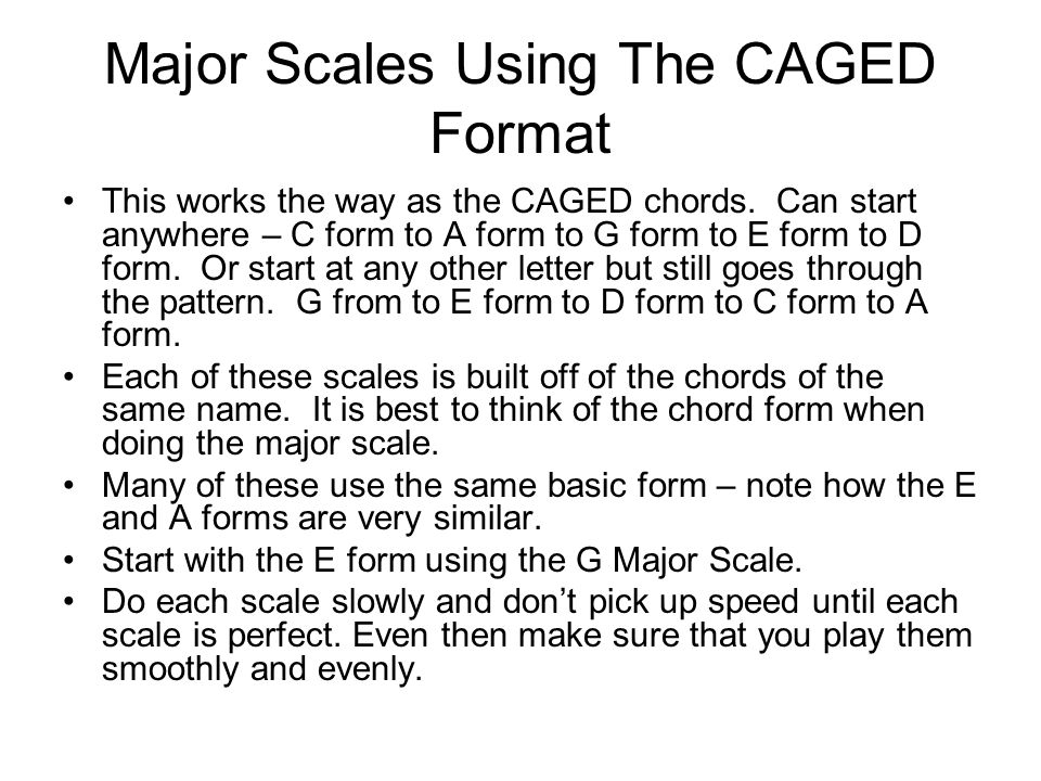 Major Scales Using The CAGED Format