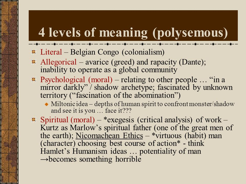 4 levels of meaning (polysemous)