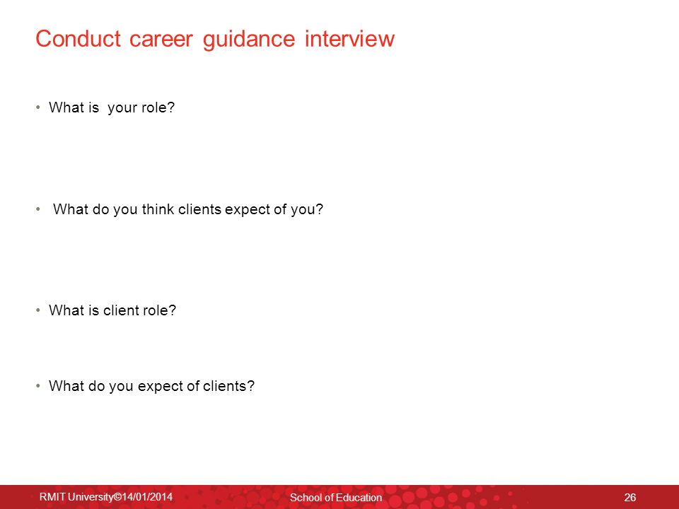Conduct career guidance interview