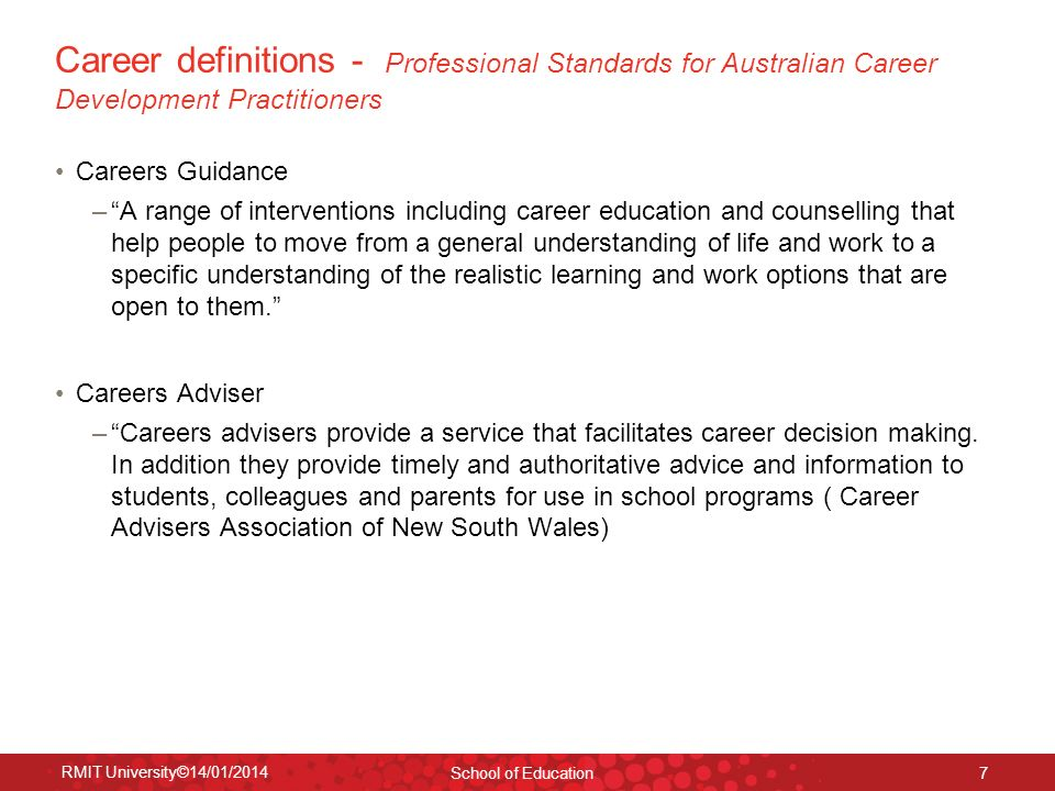 Career definitions - Professional Standards for Australian Career Development Practitioners