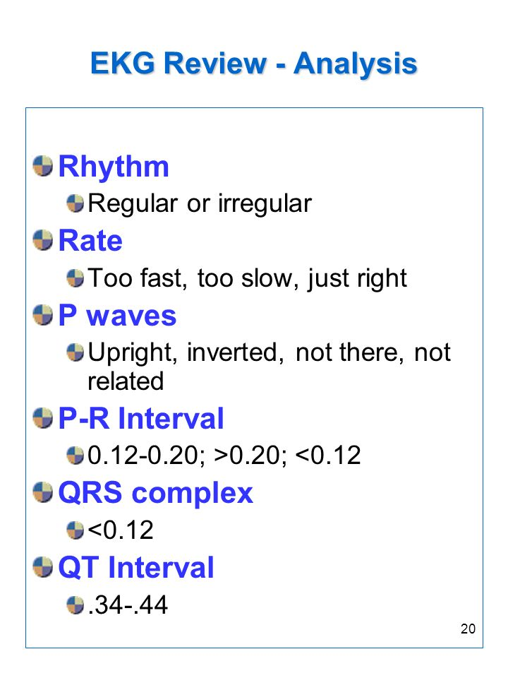 EKG Review - Analysis Rhythm Rate P waves P-R Interval QRS complex