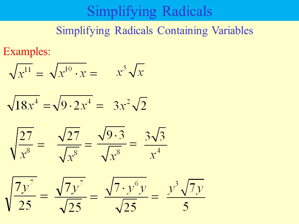 Simplifying Radicals Containing Variables