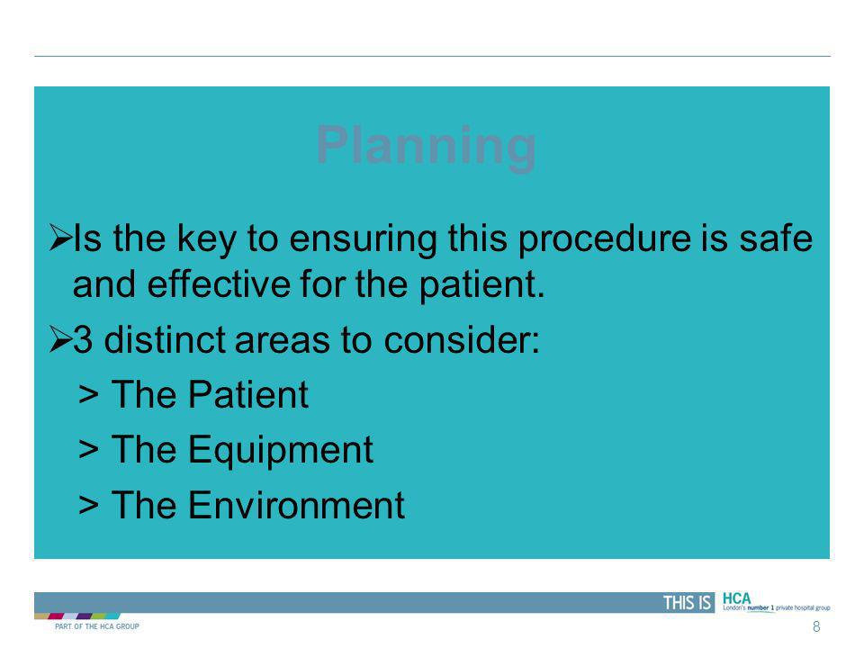 Planning Is the key to ensuring this procedure is safe and effective for the patient. 3 distinct areas to consider: