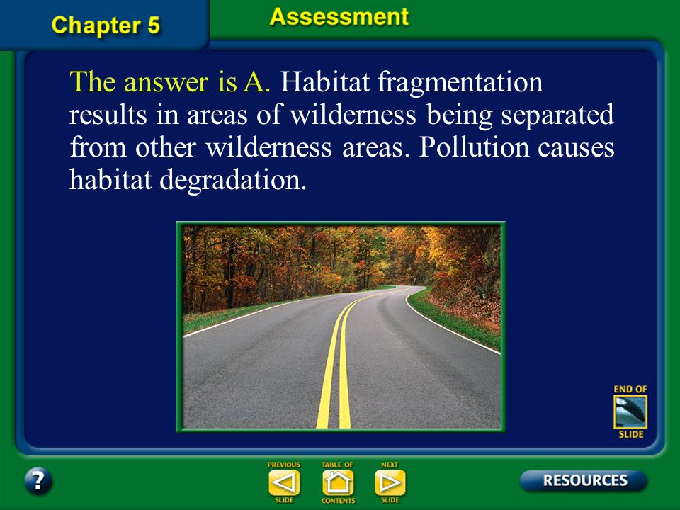 The answer is A. Habitat fragmentation results in areas of wilderness being separated from other wilderness areas. Pollution causes habitat degradation.