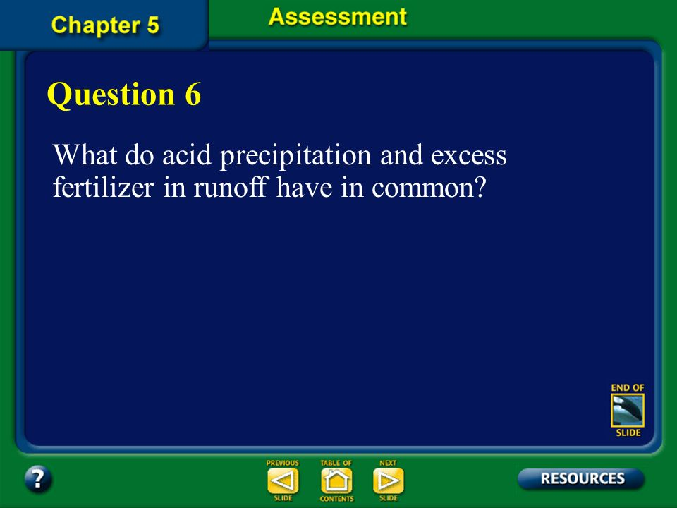 Question 6 What do acid precipitation and excess fertilizer in runoff have in common.