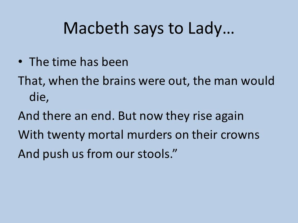 Macbeth says to Lady… The time has been
