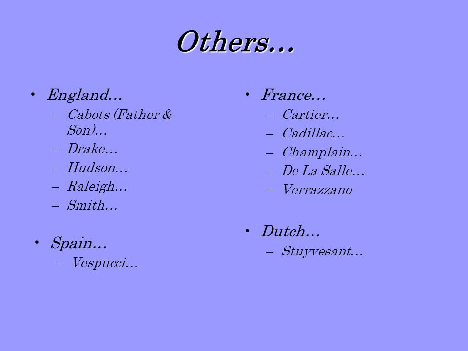 Others… England… France… Dutch… Spain… Cabots (Father & Son)… Drake…