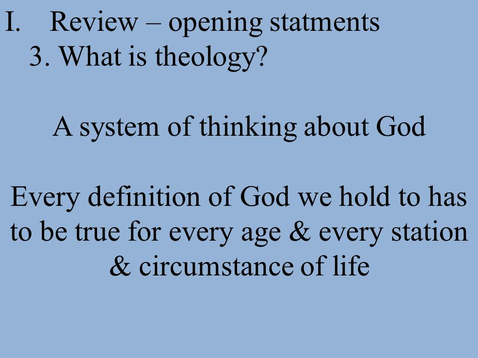 A system of thinking about God