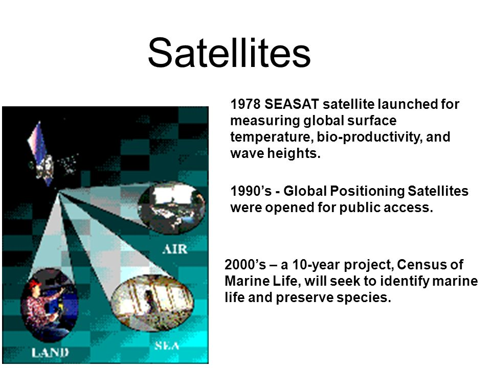Satellites 1978 SEASAT satellite launched for measuring global surface temperature, bio-productivity, and wave heights.