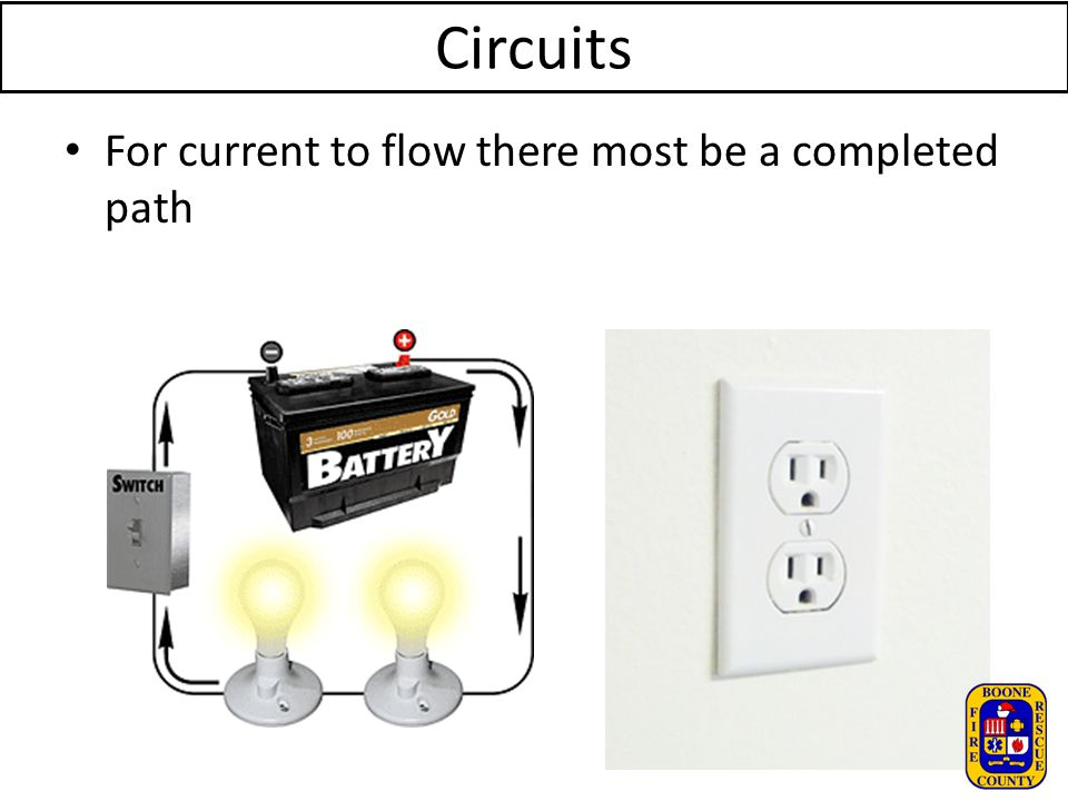 Circuits For current to flow there most be a completed path