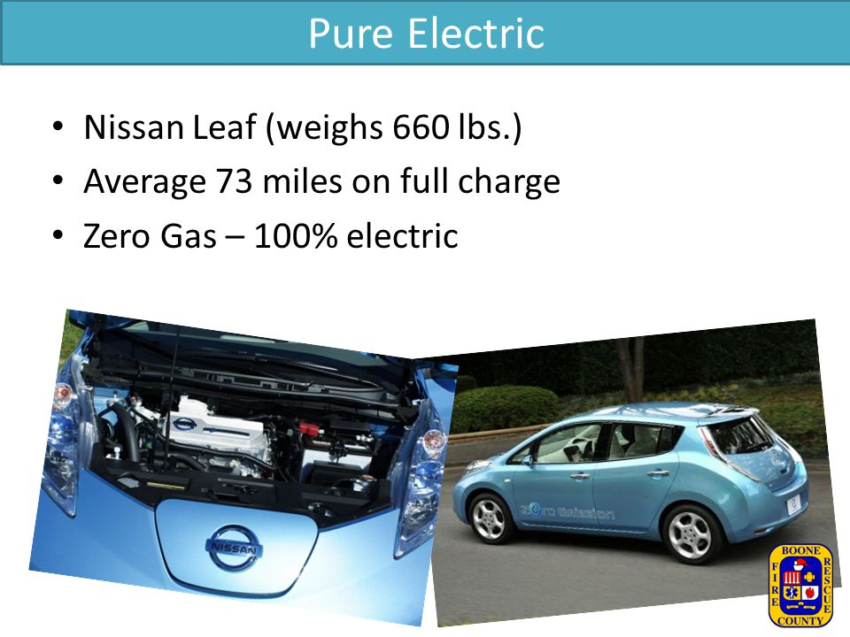 Pure Electric Nissan Leaf (weighs 660 lbs.)