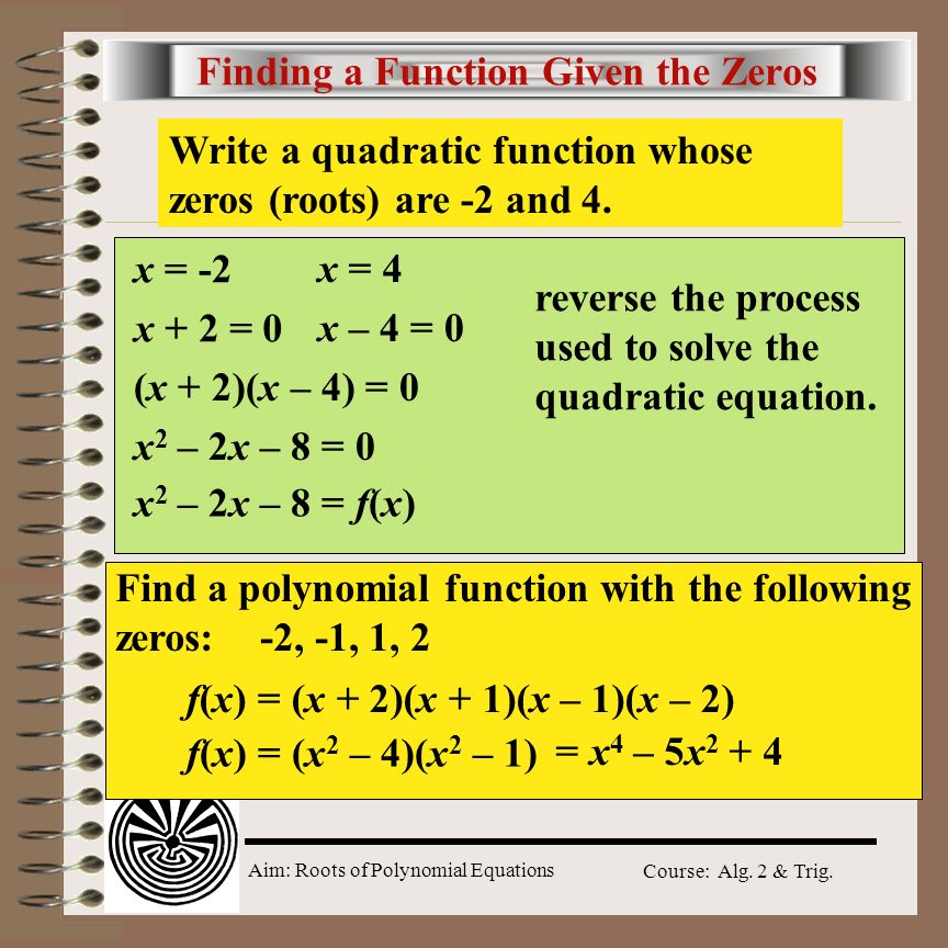 Finding a Function Given the Zeros