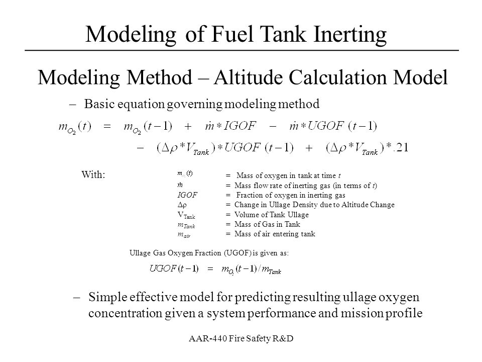Modeling of Fuel Tank Inerting for FAA OBIGGS Research - ppt video