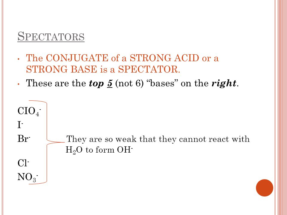 Spectators The CONJUGATE of a STRONG ACID or a STRONG BASE is a SPECTATOR. These are the top 5 (not 6) bases on the right.