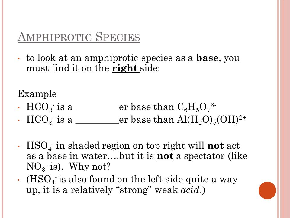 Amphiprotic Species to look at an amphiprotic species as a base, you must find it on the right side: