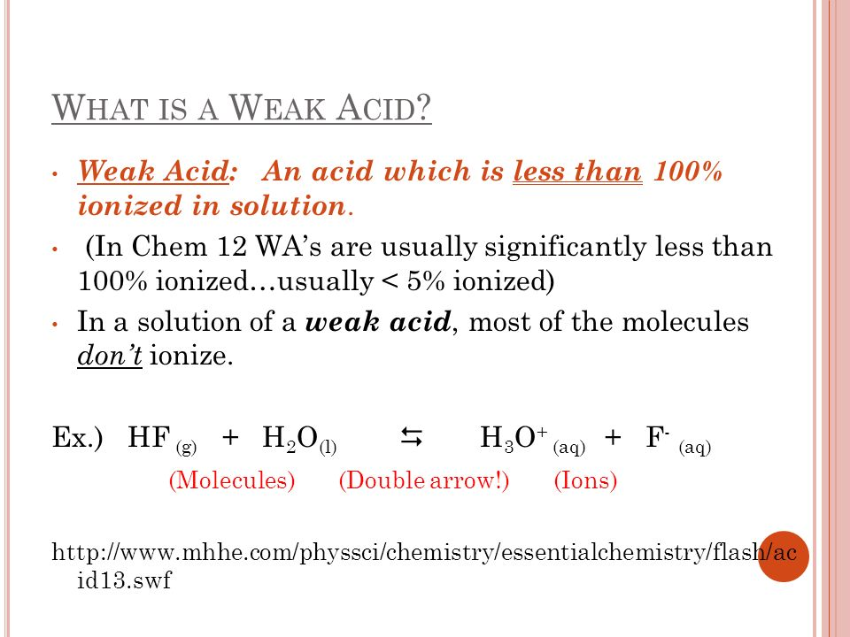 What is a Weak Acid Weak Acid: An acid which is less than 100% ionized in solution.