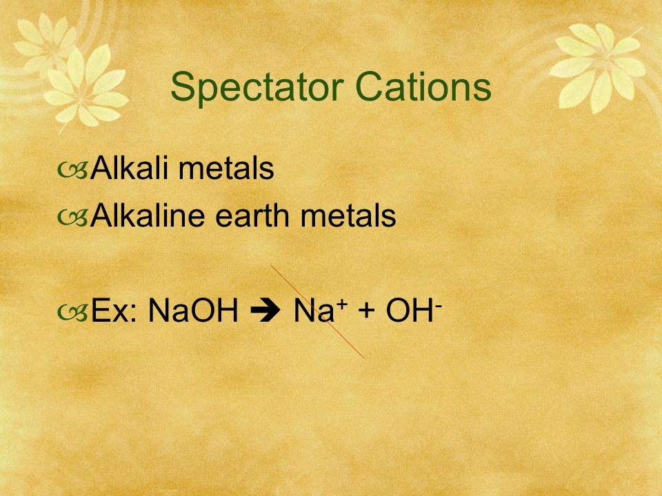 Spectator Cations Alkali metals Alkaline earth metals