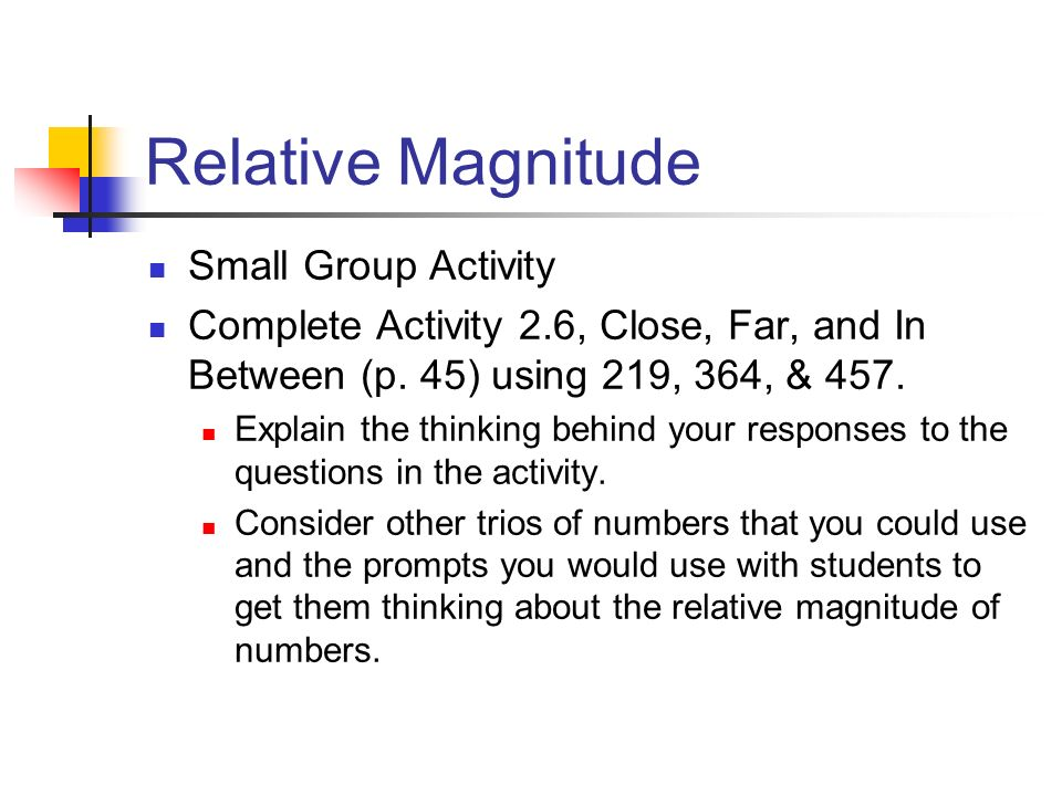 Relative Magnitude Small Group Activity