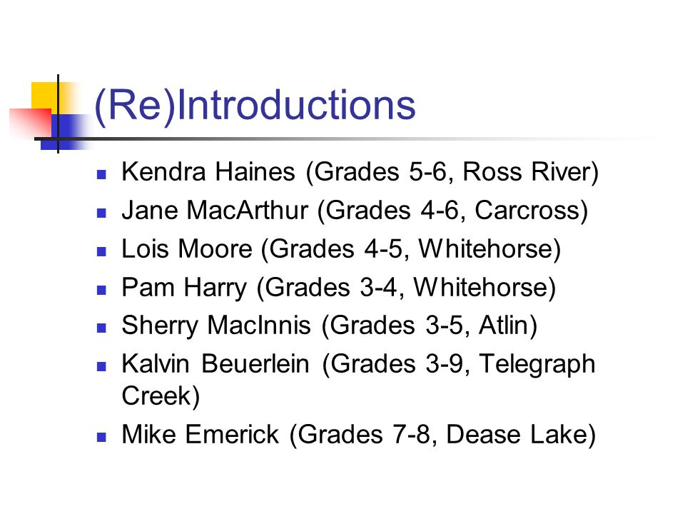 (Re)Introductions Kendra Haines (Grades 5-6, Ross River)