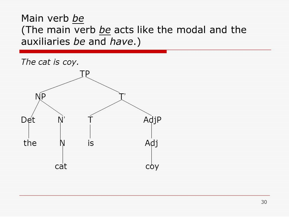 Main verb be (The main verb be acts like the modal and the auxiliaries be and have.)