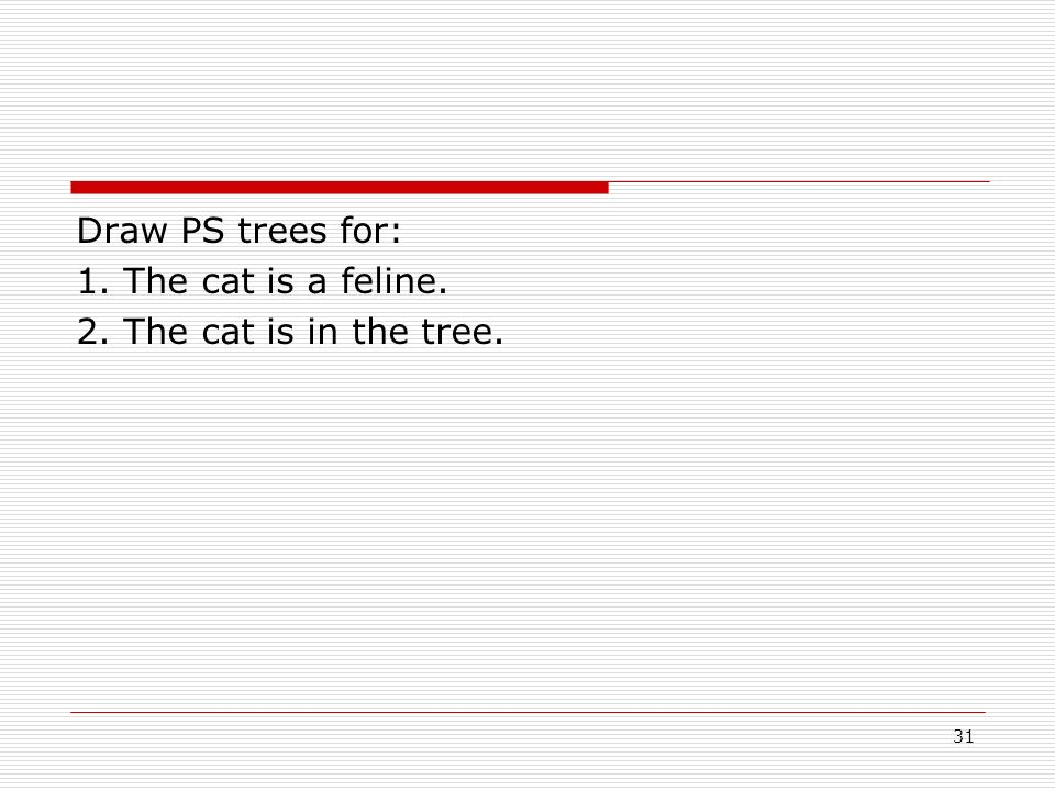 Draw PS trees for: 1. The cat is a feline. 2. The cat is in the tree.