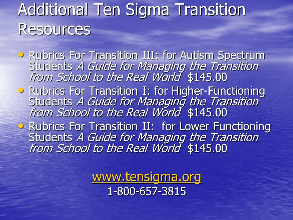 Additional Ten Sigma Transition Resources