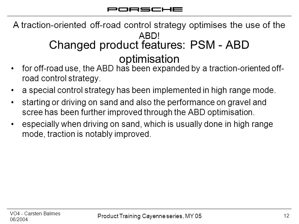 Changed product features: PSM - ABD optimisation