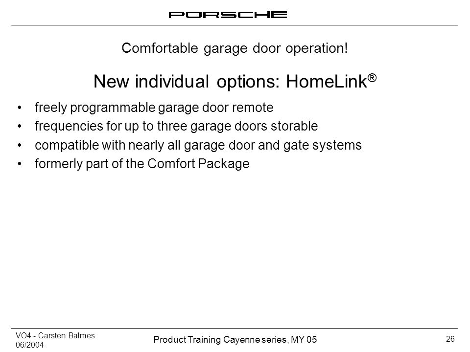 New individual options: HomeLink®