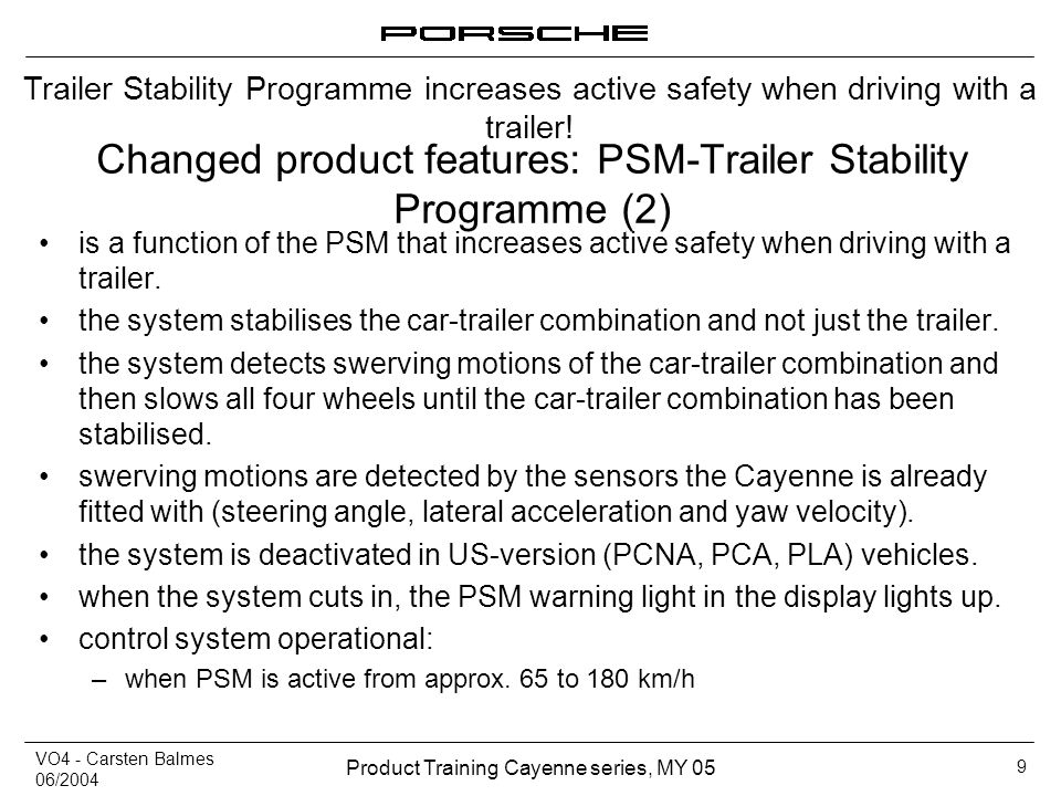 Changed product features: PSM-Trailer Stability Programme (2)