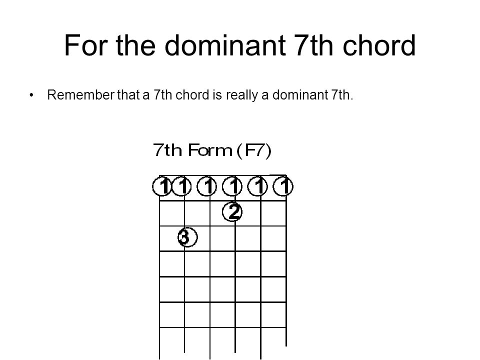 For the dominant 7th chord