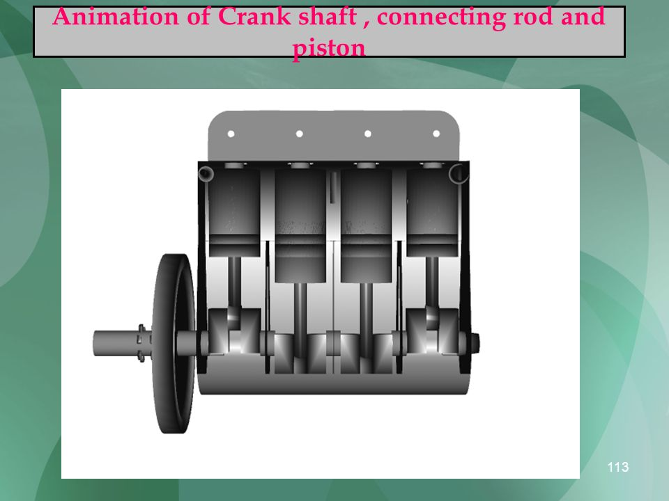 Animation of Crank shaft , connecting rod and piston