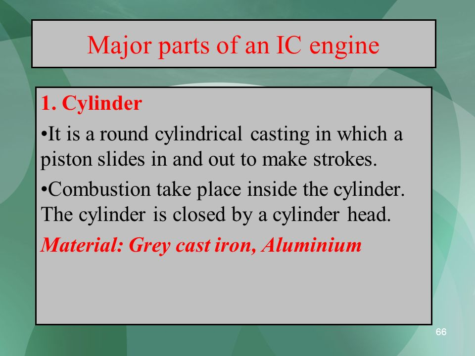 Major parts of an IC engine