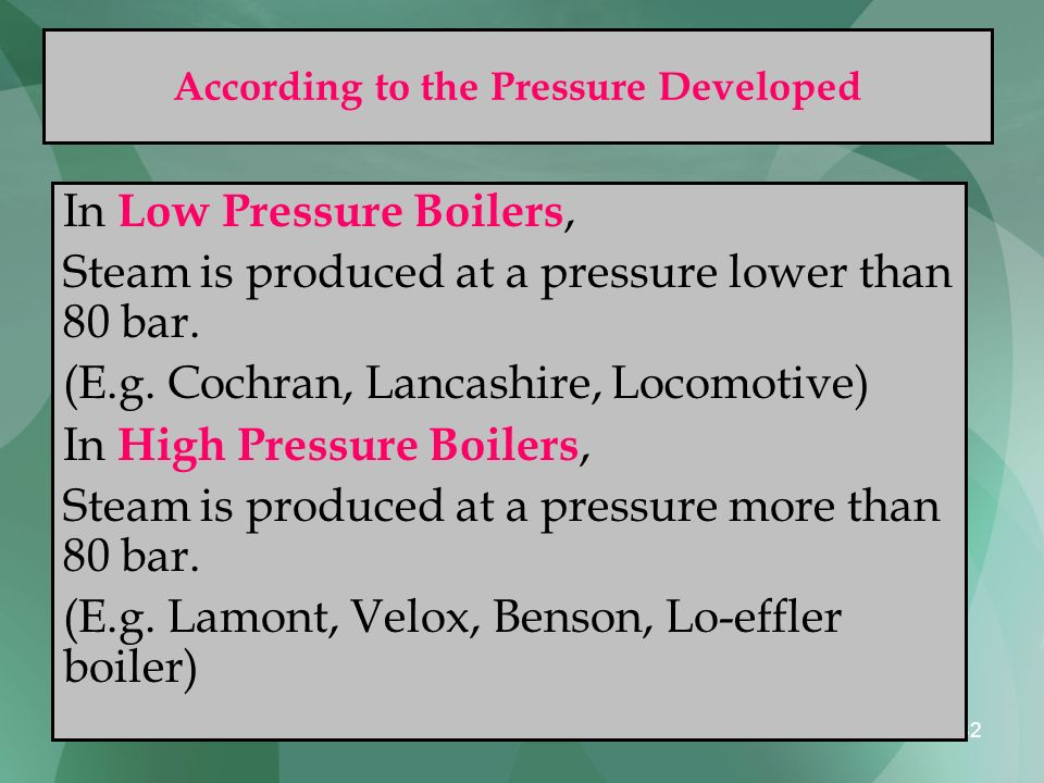 According to the Pressure Developed
