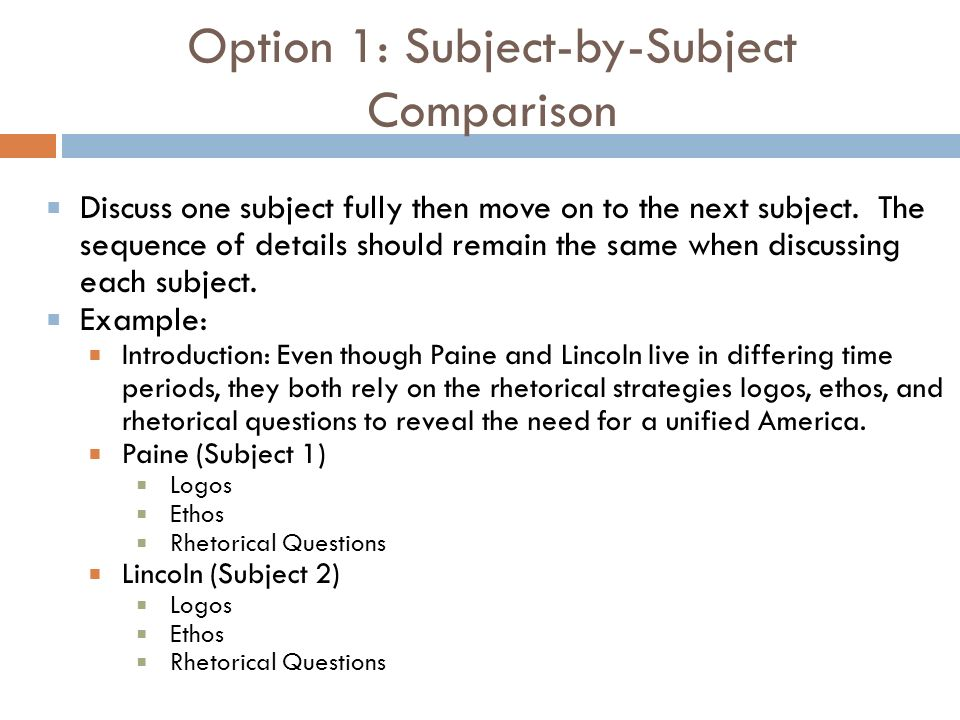 Option 1: Subject-by-Subject Comparison