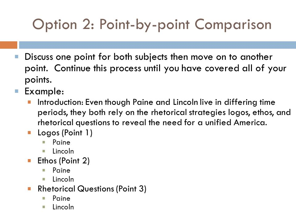 Option 2: Point-by-point Comparison