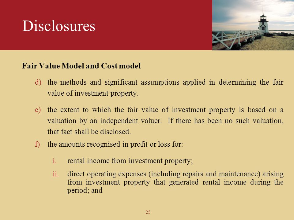 Disclosures Fair Value Model and Cost model