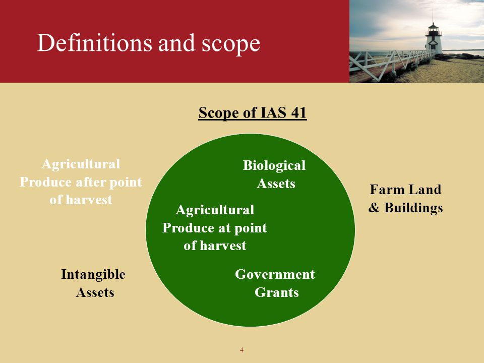 Definitions and scope Scope of IAS 41 Agricultural Produce after point