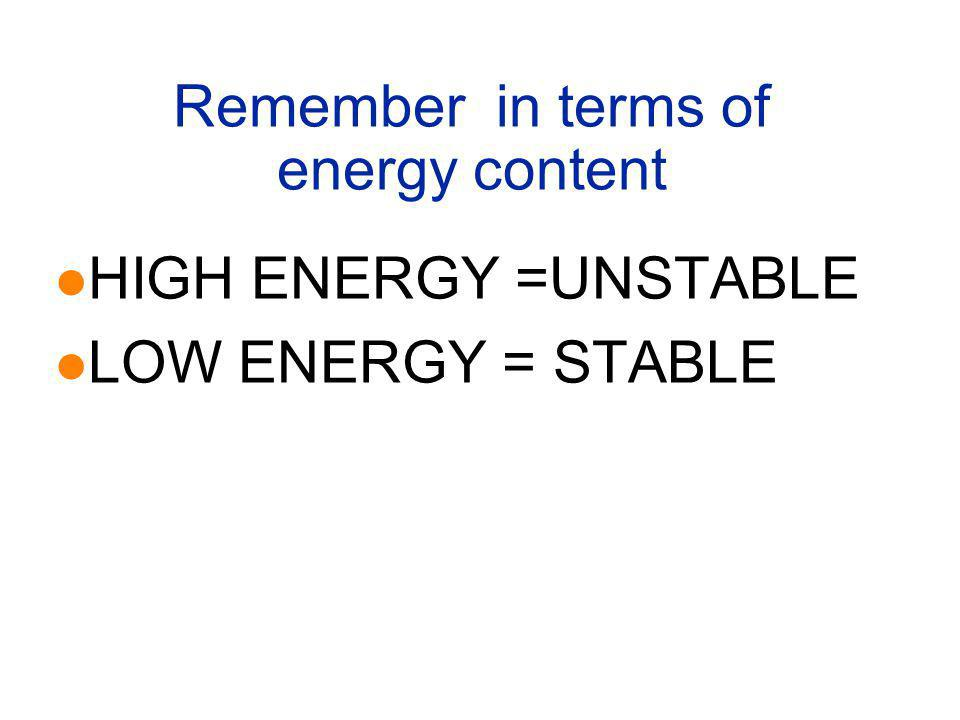 Remember in terms of energy content