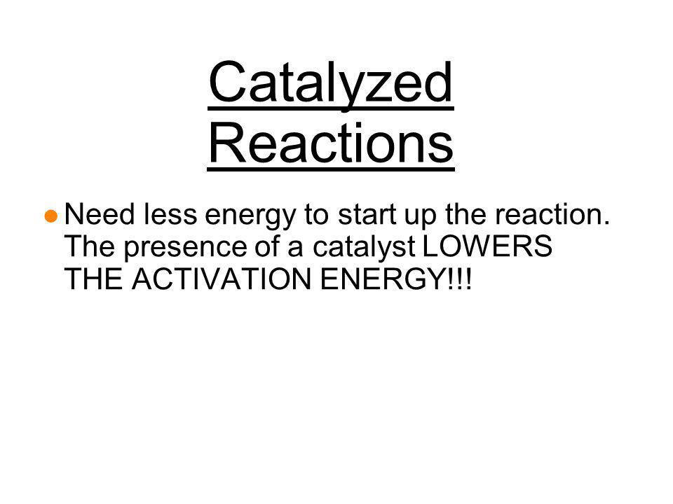 Catalyzed Reactions Need less energy to start up the reaction.