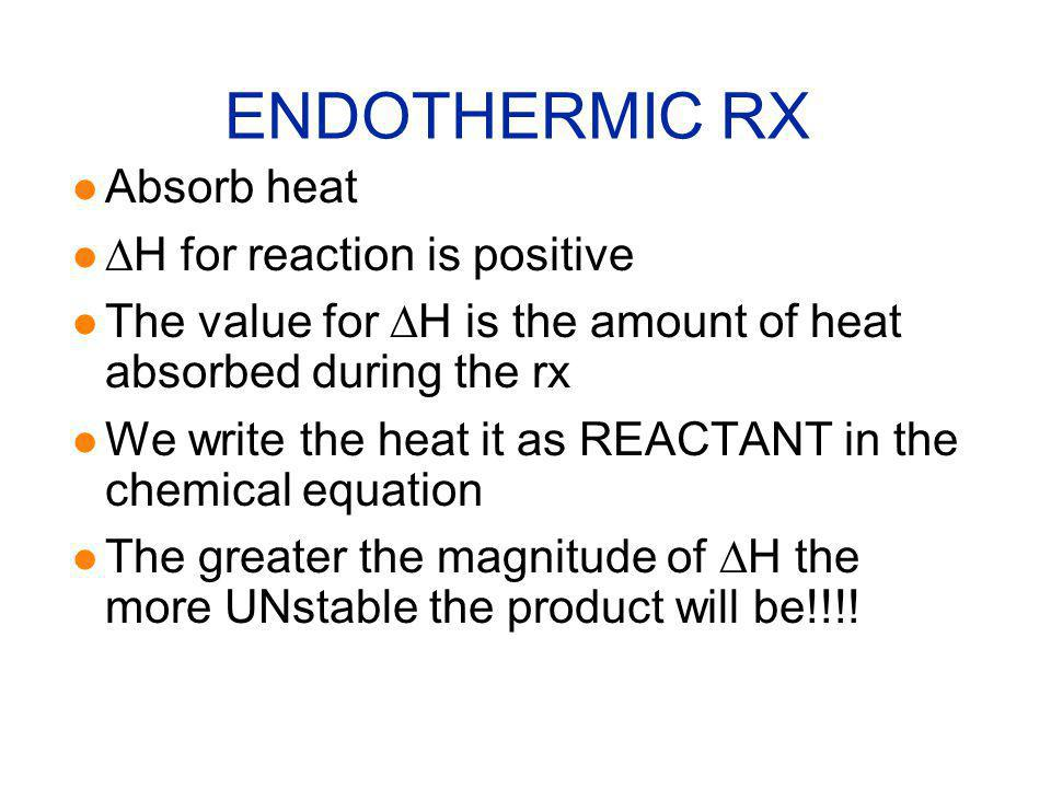 ENDOTHERMIC RX Absorb heat DH for reaction is positive
