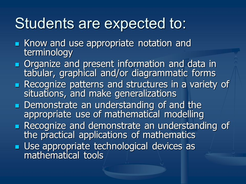 Students are expected to: