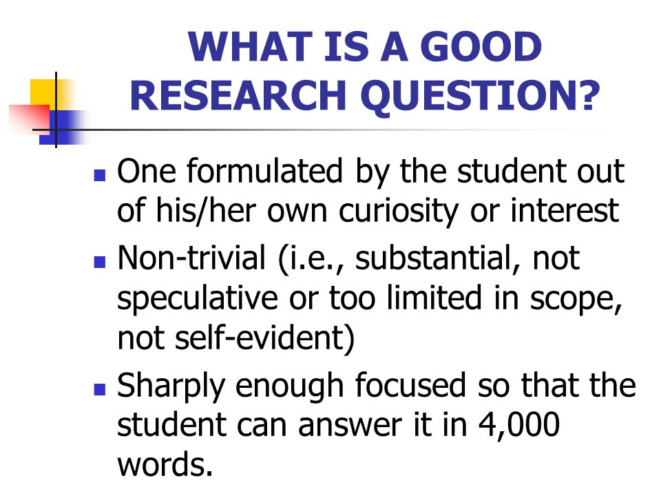 WHAT IS A GOOD RESEARCH QUESTION