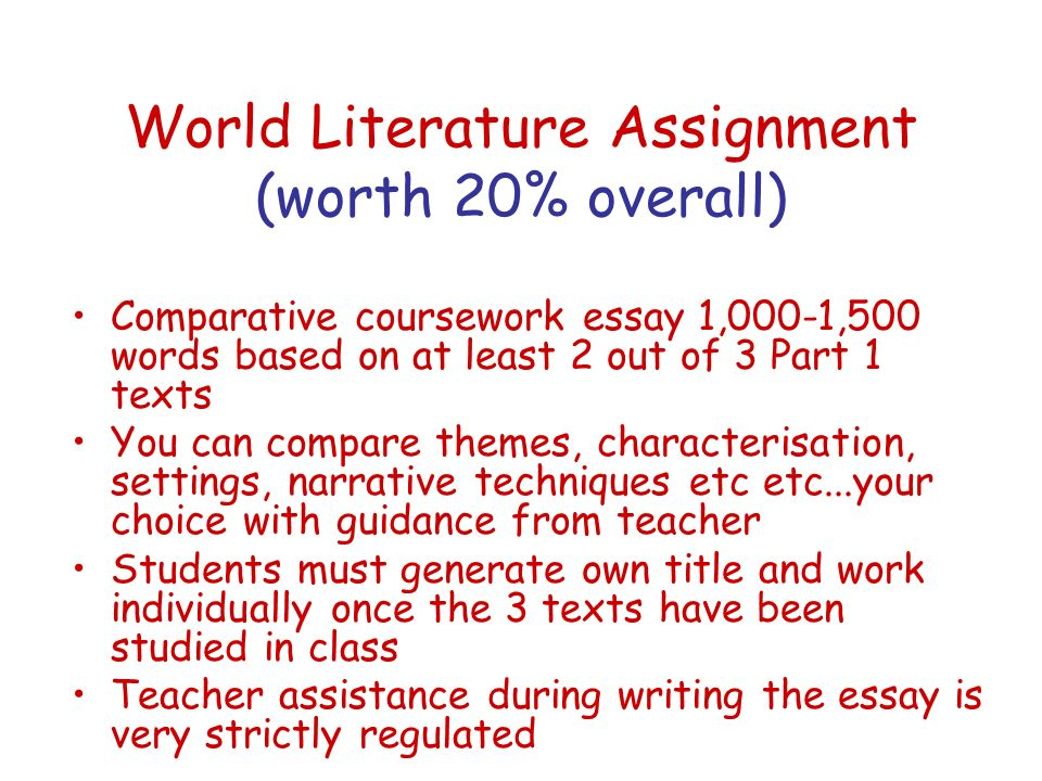 World Literature Assignment (worth 20% overall)