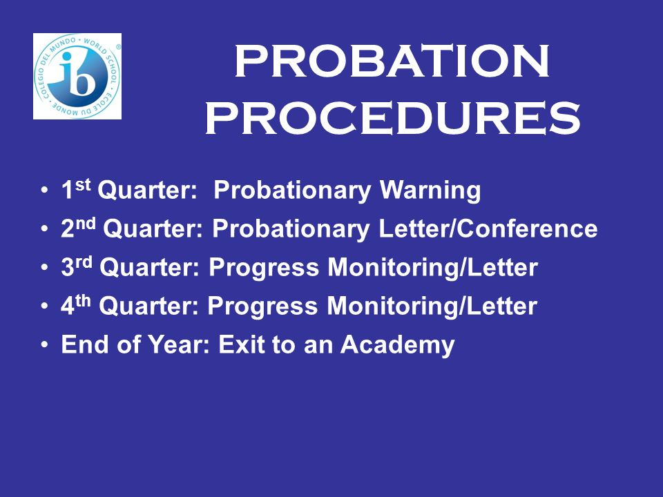 PROBATION PROCEDURES 1st Quarter: Probationary Warning